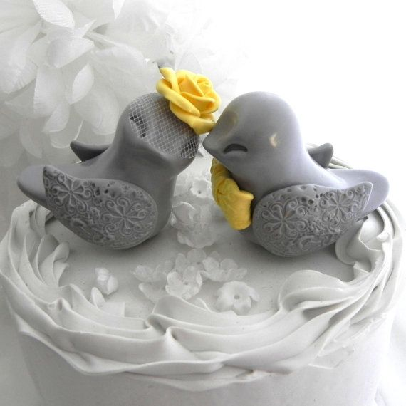 Love Birds Wedding Cake Topper Grey And Buttercup Yellow Bride Groom Keepsake