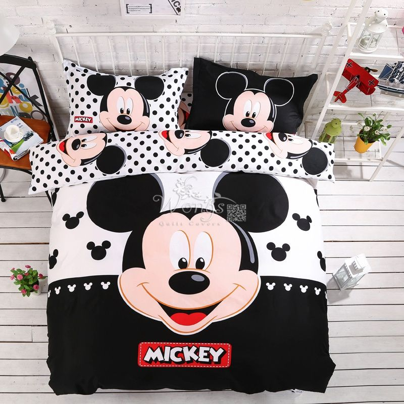 home textiles 100 cotton 3d adult kids boys mickey mouse bedding set twin full queen king size comforter cover setbedroom setsmickey mouse king size - Mickey Mouse Bedding