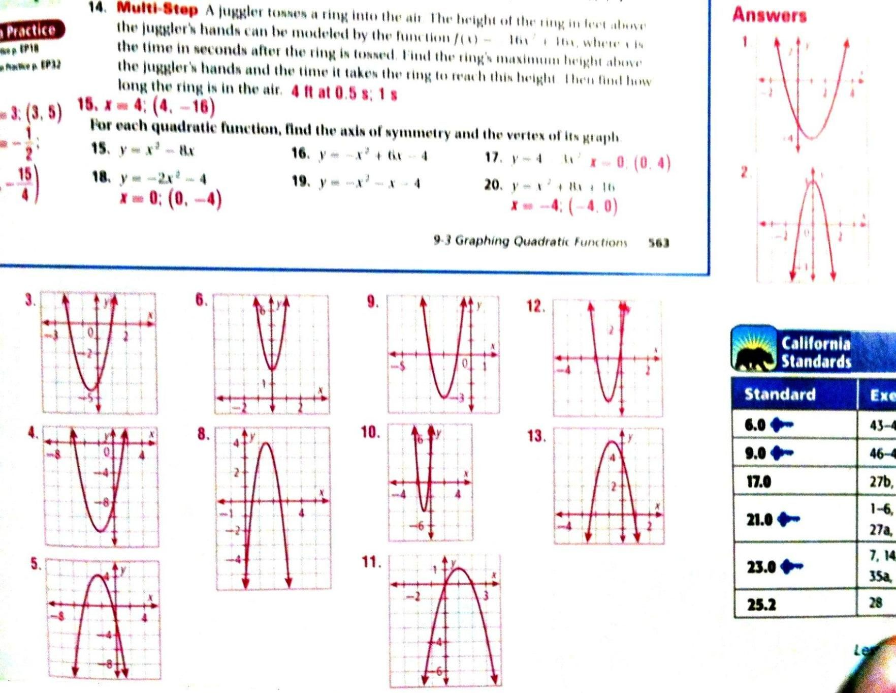38 Graphing Quadratic Functions In Standard Form Practice