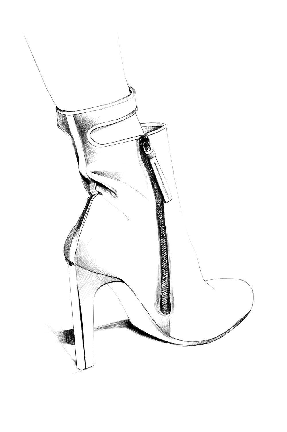 fashion illustration shoe sketch black and white fashion drawing caroline andrieu