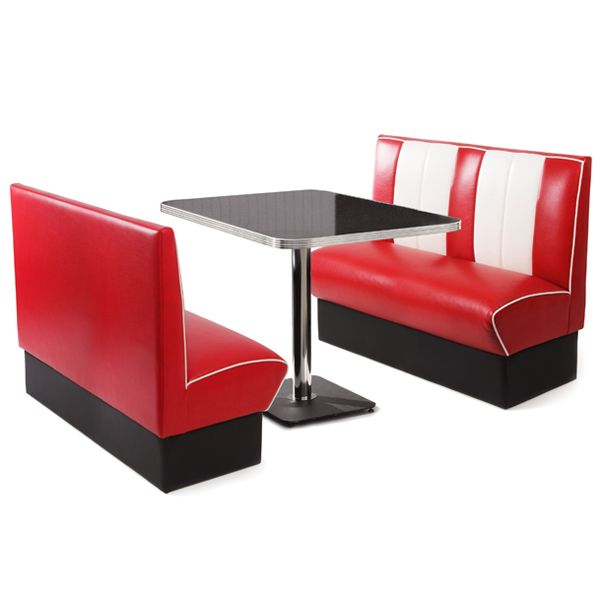 Retro Diner Booth Set Red | Diner Seating Retro Furniture   Buy At  Drinkstuff.
