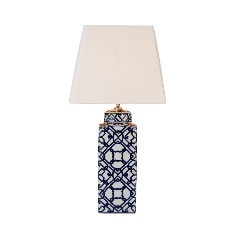 Dar MYS4223 Mystic 1 Light Blue And White Ceramic Table Lamp