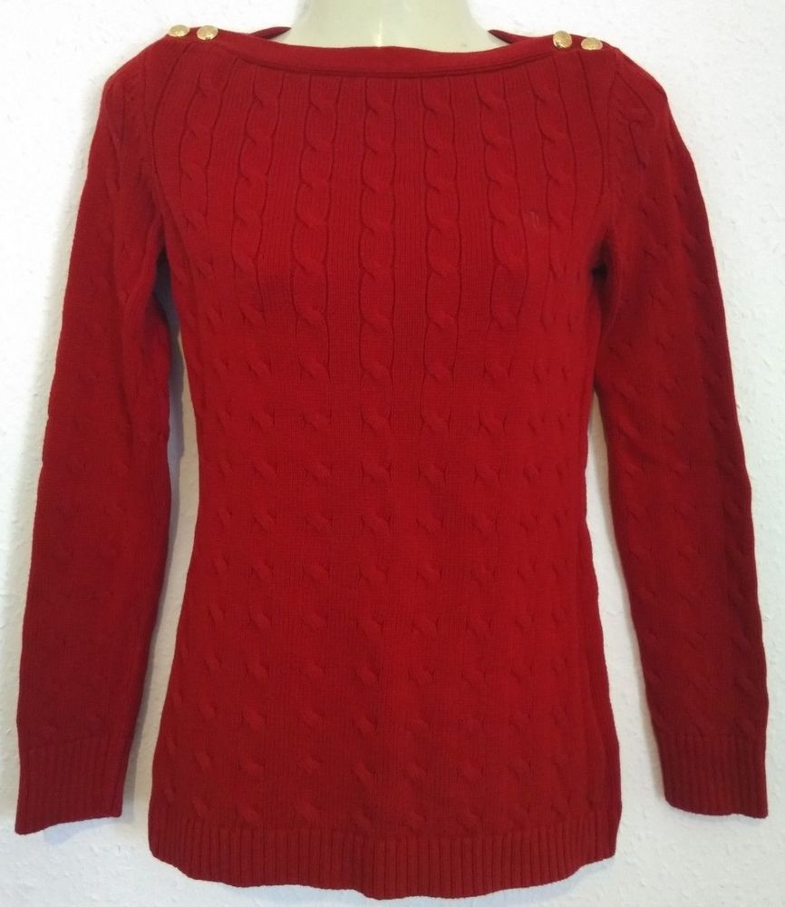 ae33ee24a Lauren Ralph Lauren Ladies Cable Knit Jumper Gold Buttons Boat Neck Red Size  S