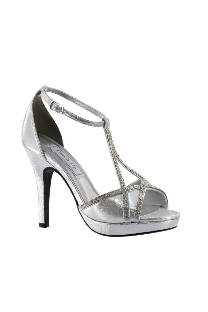 Jumex High Heels Pumps Glitzer Strass silber B8529 | Silber