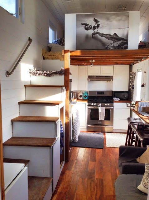 The Interior Of A Custom Home By Mitchcraft Tiny Homes Tiny House Kitchen Tiny House Interior Modern Tiny House