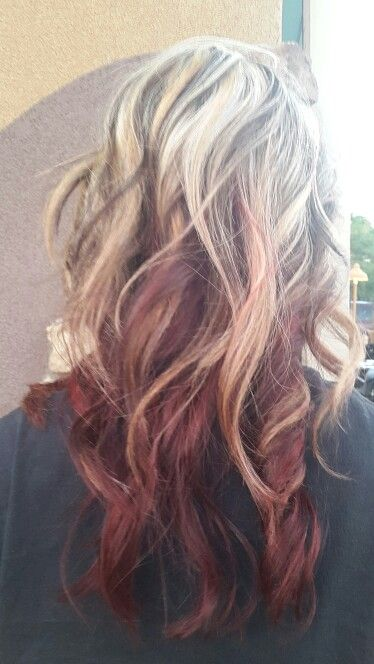 Blond With Dark Brown On Top And Some Bright Red Underneath Beauty Hair Makeup Fall Blonde Hair Beauty Hair Color