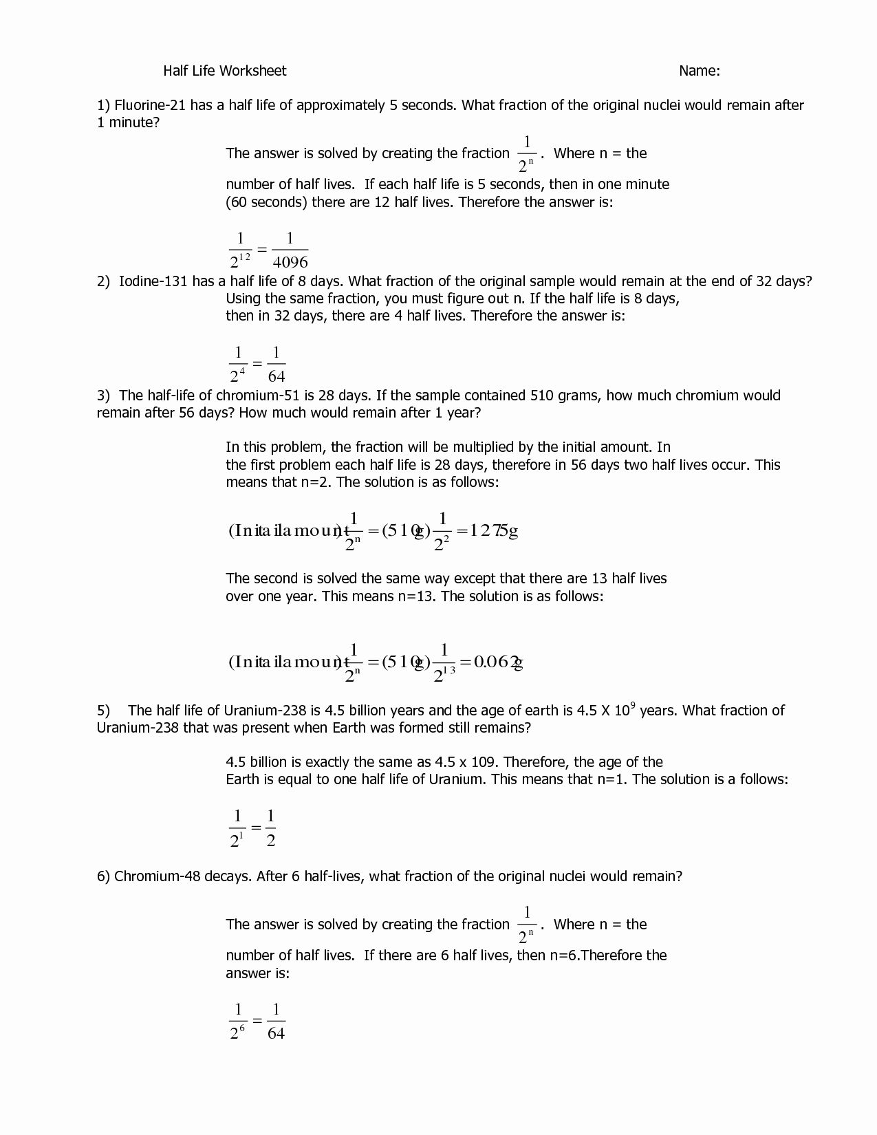50 Nuclear Chemistry Worksheet Answer Key In