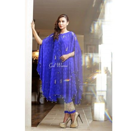 1eadb56b66 Pakistani Designer Dresses - Lowest Prices - Royal blue cape dress by gul  warun - Latest Pakistani Fashion