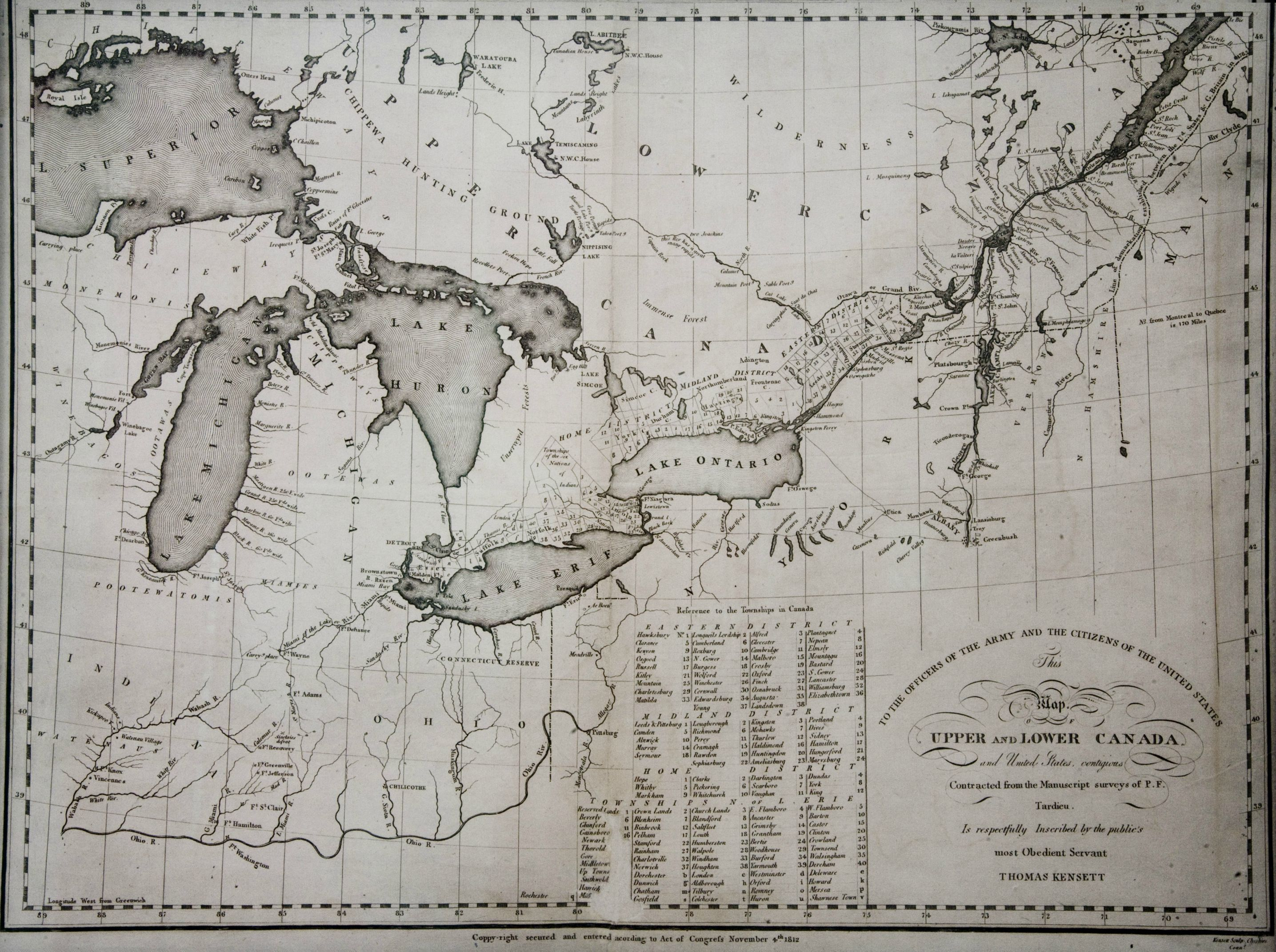 1812 map of Upper and Lower Canada