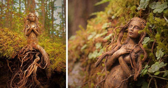 Umelkyňa Debra Bernier mení naplavené drevo na éterické sochy - zobrazujú krásu prírody. Jej práca oslavuje všetko prírodné a vzťah človeka a zeme. Umenie