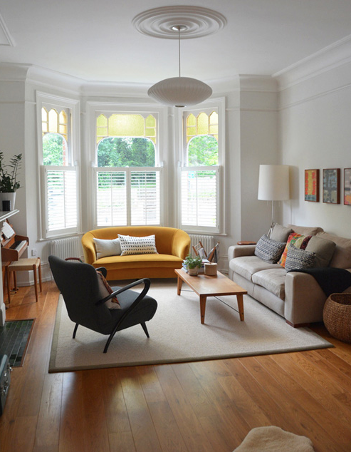 Living room yellow sofa bay window edwardian victorian - Living room with bay window ...