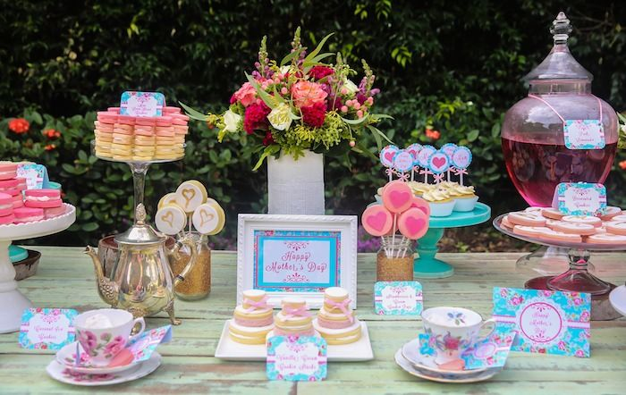 Mother 39 s day afternoon tea party dessert table with such for Afternoon tea decoration ideas