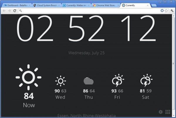 Currently, extension para Chrome que nos muestra la hora y el estado del tiempo