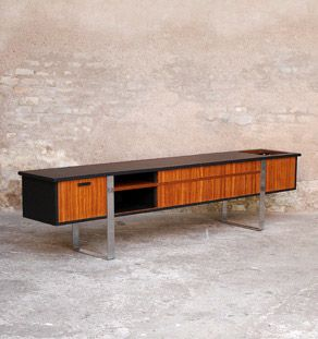 Enfilade, vinyle, meuble tv vintage scandinave en teck | Tv vintage ...