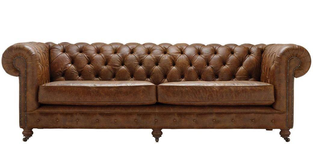 Vintage Chesterfield 4 Seater Leather Sofa | Heathers ...