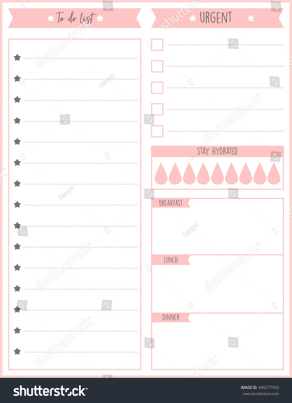 Clean Style Daily Planner Vector Template Stationery Design Cute And Simple Printable To Do List