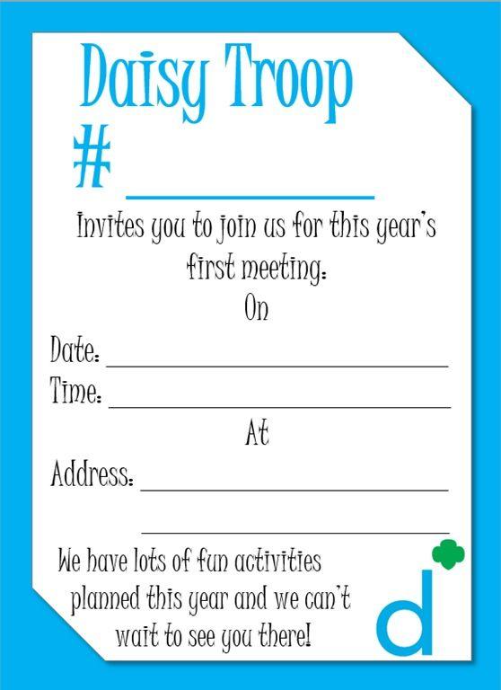 Daisy Meeting Invitation Daisy Girl Scouts Pinterest Daisy - formal invitation to a meeting