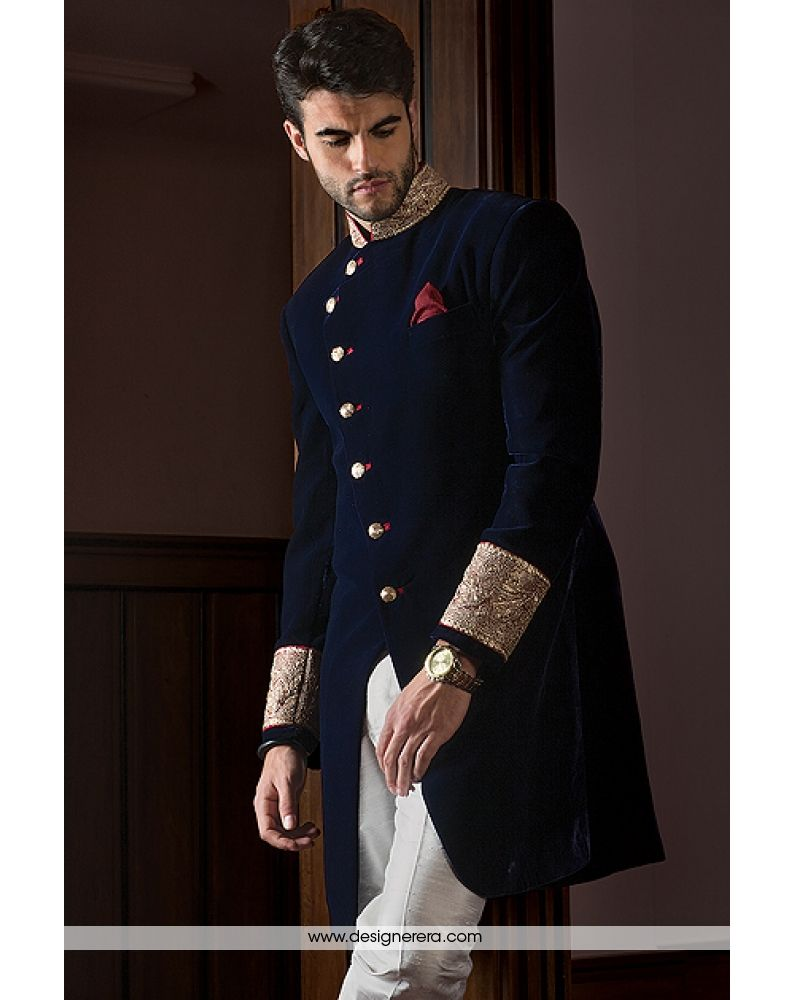 De eyecatching oxford blue jacket style achkan set casere