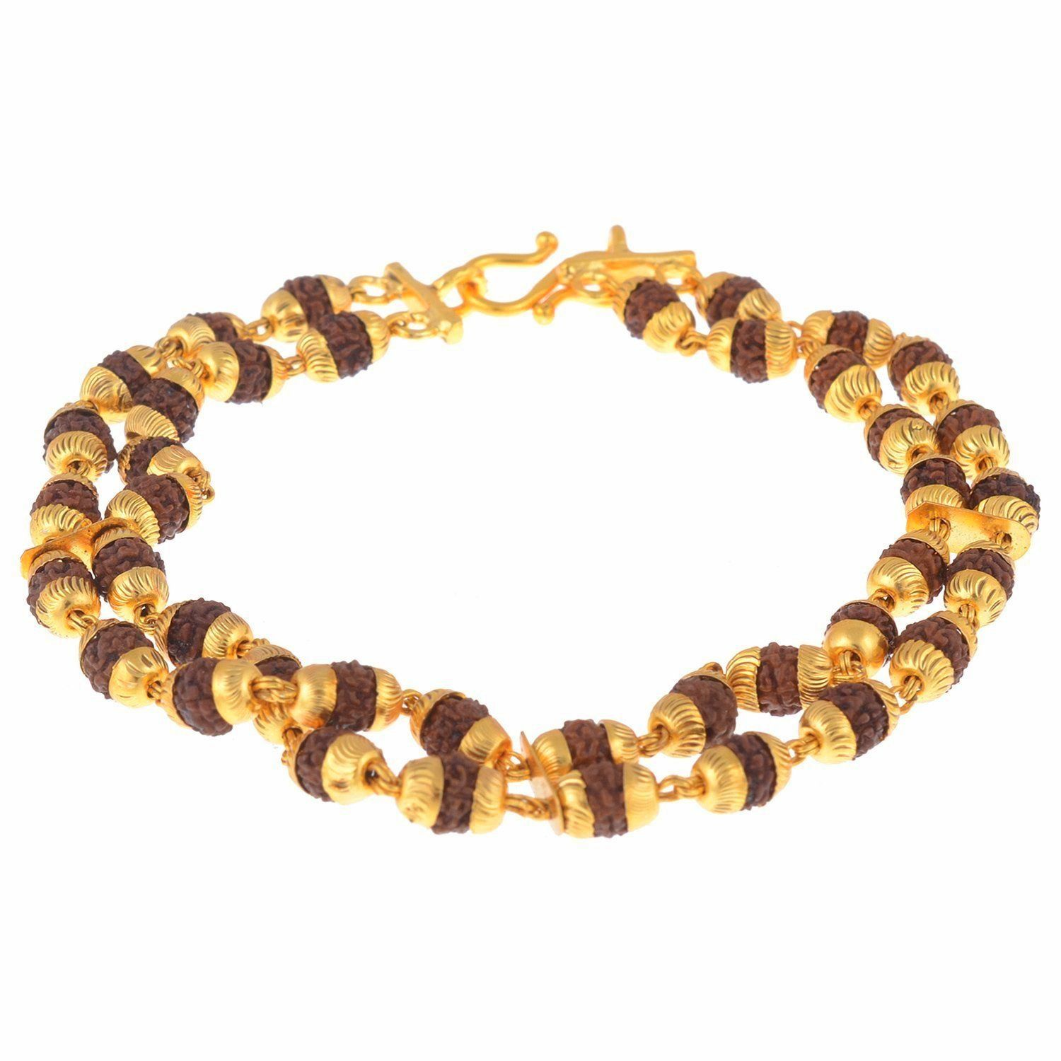The Jewelbox Dual Line Rudraksh Gold Plated bracelet for Men ...