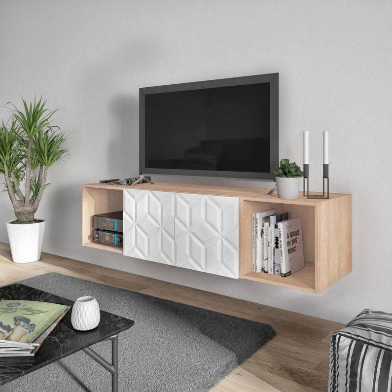 Meuble Tv Spaceo Home Origami H 40 X L 160 X P 45 Cm En 2020 Avec Images Mobilier De Salon Meuble Meuble Tv