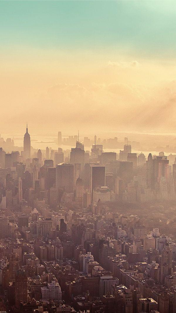 New York City Sunrise Haze Best Htc One Wallpapers New York Background Iphone 5 Wallpaper