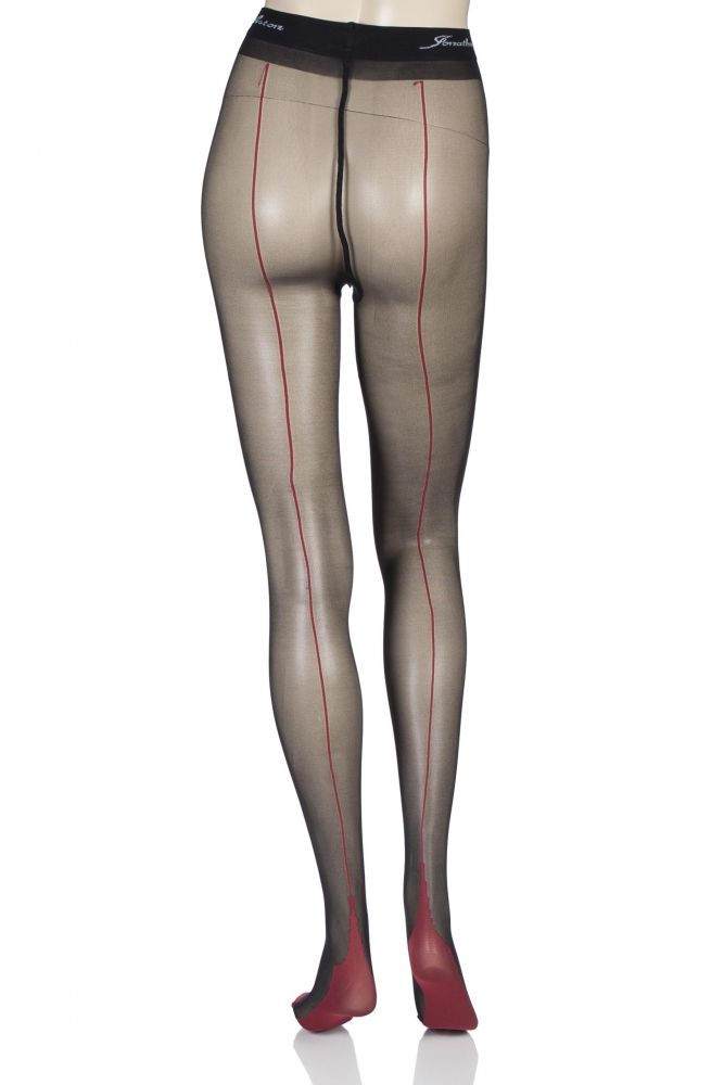 2d97741ce Ladies 1 Pair Jonathan Aston Contrast Seam And Heel Tights