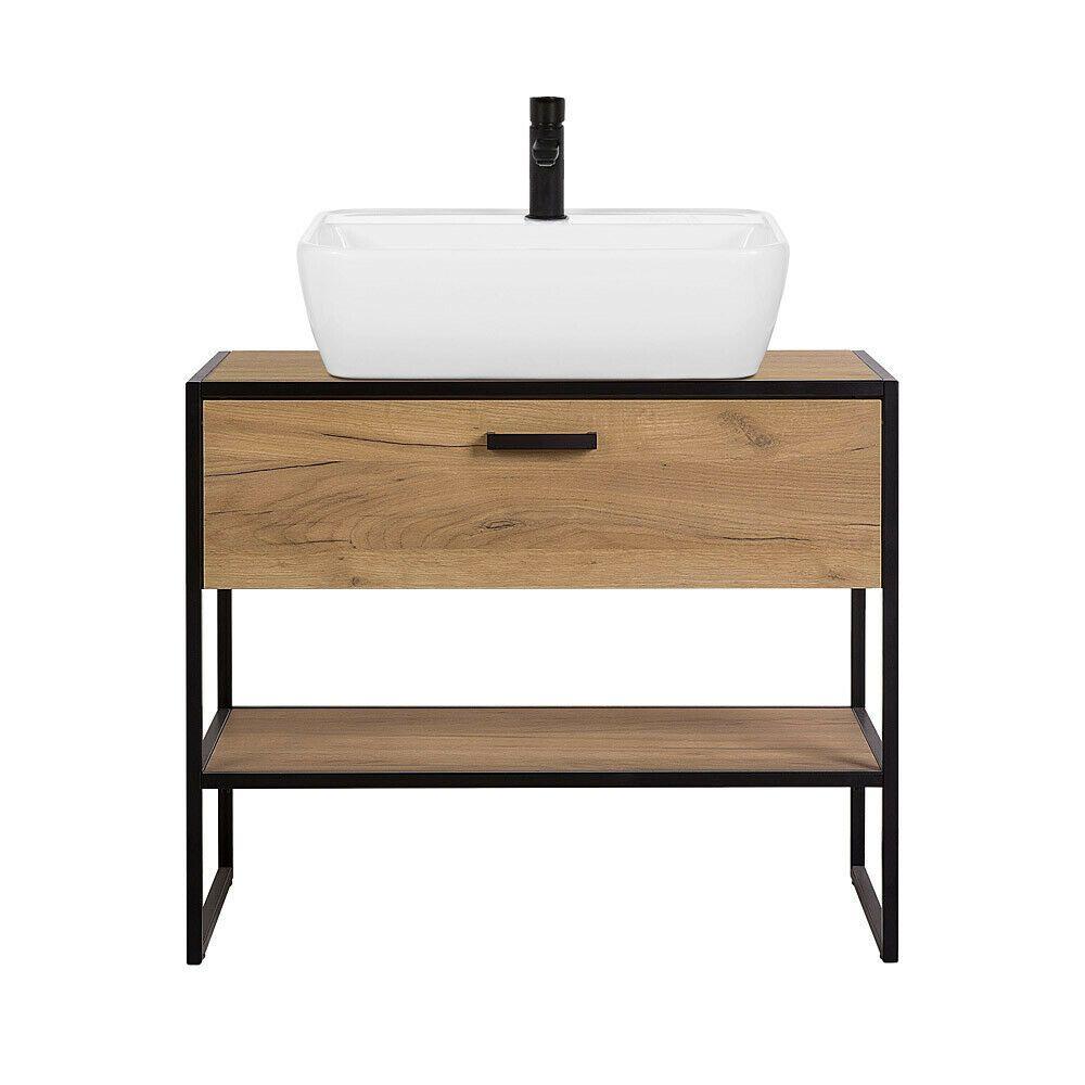 Badezimmer Waschtisch Mit Aufsatzbecken Eiche Schwarz 90 Cm Industrial Design Badezimmermobel Ideen Von Badezimmermobel Badezi