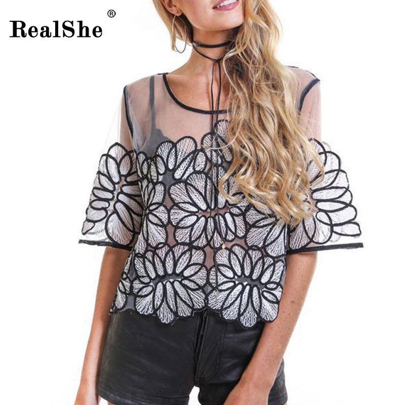 2670c0ba94850 RealShe Shirt 2017 Spring Summer Round Neck Half Sleeve Sexy Blusa ...