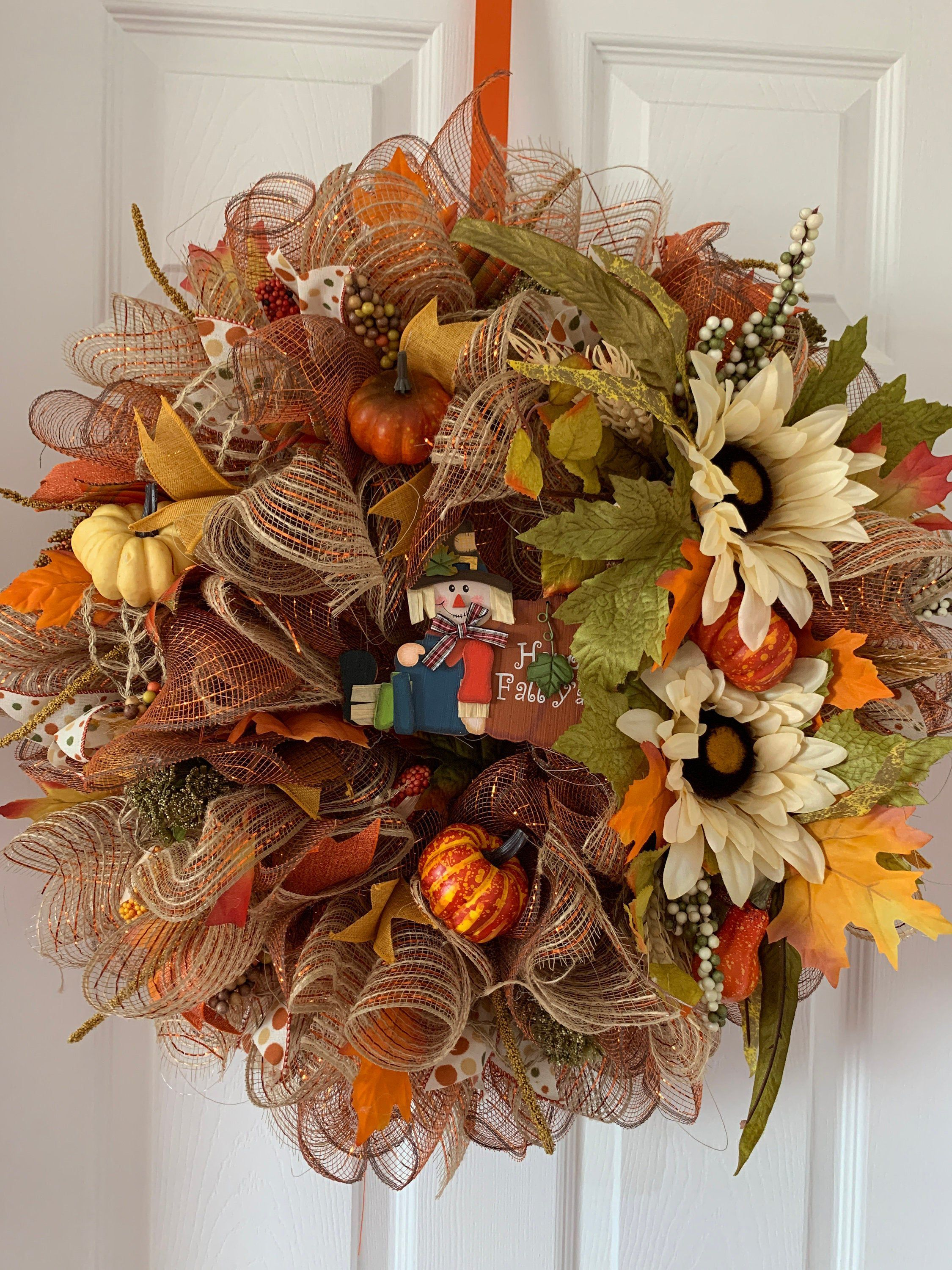 Fall wreath/Autumn Wreath/Traditional Wreath/Scarecrow Wreath #scarecrowwreath Excited to share this item from my #etsy shop: #Fall wreath/#Autumn Wreath/#Traditional Wreath/# Scarecrow Wreath/#Front Door Wreath/#Door Wreath  #homedecor #countryfarmhouse #scarecrowwreath #traditionalwreath #frontdoorwreath #doorwreath #scarecrowwreath