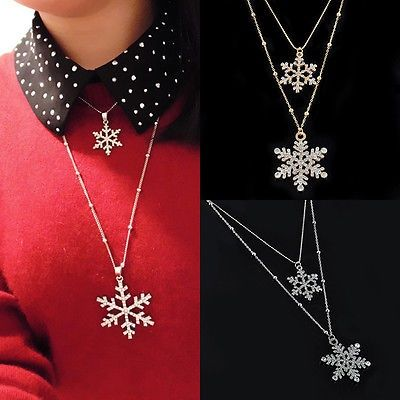 nice Fashion Womens Crystal Snowflake Flower Chain Pendant Necklace Christmas Jewelry - For Sale Check more at http://shipperscentral.com/wp/product/fashion-womens-crystal-snowflake-flower-chain-pendant-necklace-christmas-jewelry-for-sale/
