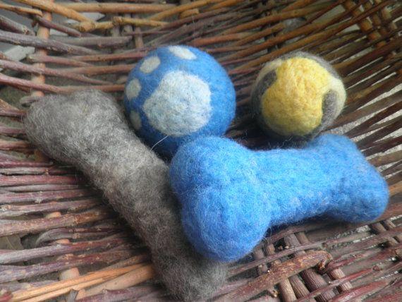 Wool Dog Toys Wool Ball Wool Dog Bone Shape Tug Toy Grey Set