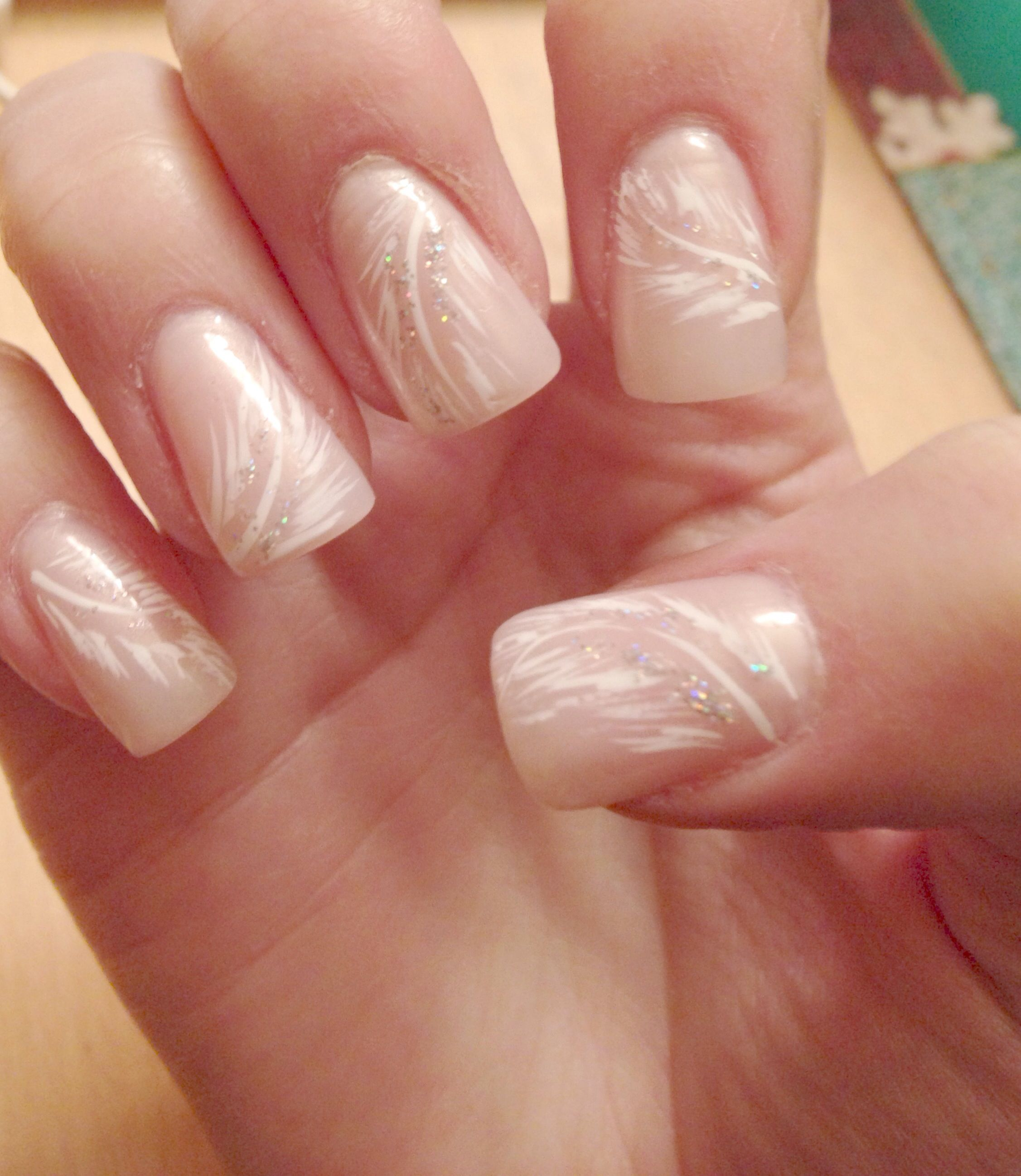 Pink acrylic nails with a feather design nails pinterest pink