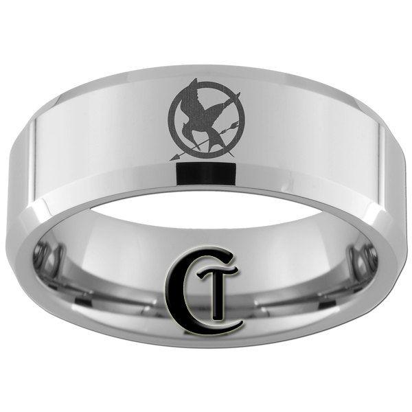 8mm Bevel Tungsten Carbide Laser Mockingjay Design Ring Sizes 5-17 - FREE Shipping. $49.00, via Etsy.