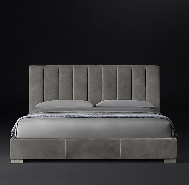 Best Modena Panel Vertical Channel Leather Platform Bed 640 x 480