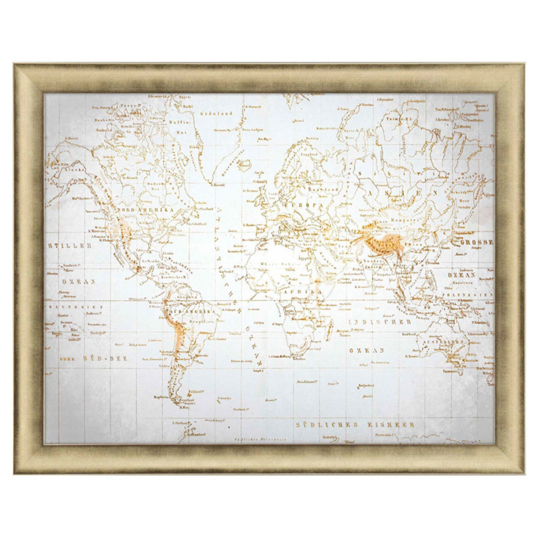 Paragon Neutral World Map Framed Wall Art  4160