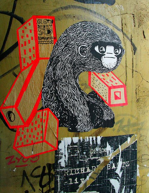 Street Art HH Dez2012 paste ups (1) by liborius on Flickr.A través de Flickr:  paste up poster cut out street art hamburg schanzenviertel ape affe monkey simian cartoon comic drawing zeichnung