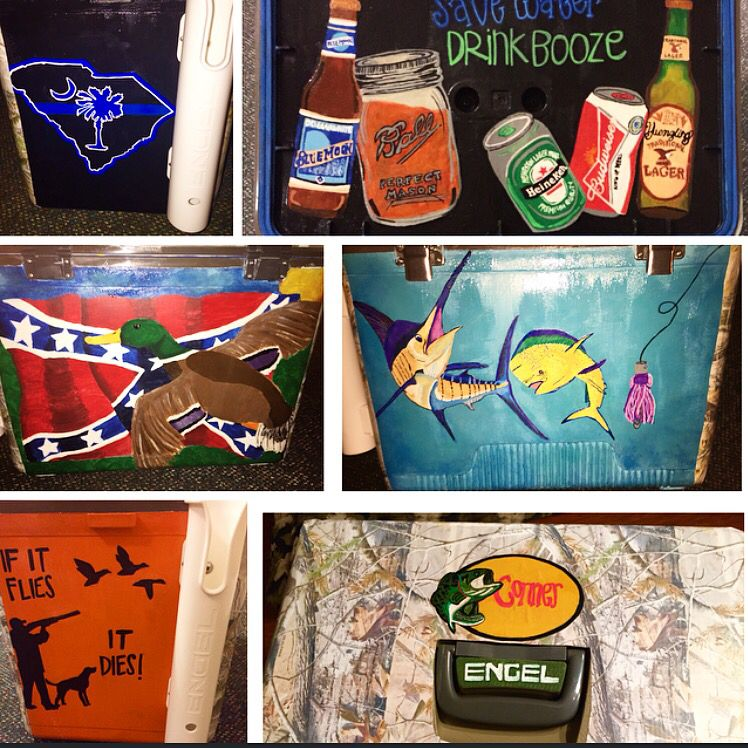Cooler I Painted For My Boyfriend S 21st Birthday Cooler Painted Southern Fishing Hunting Diy Paintedcooler Cooler Painting Mountain Weekend Cooler Diy