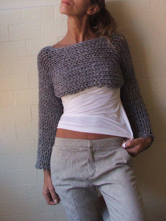 cropped sweater, gray shrug, women's clothing Last One | Grey shrug