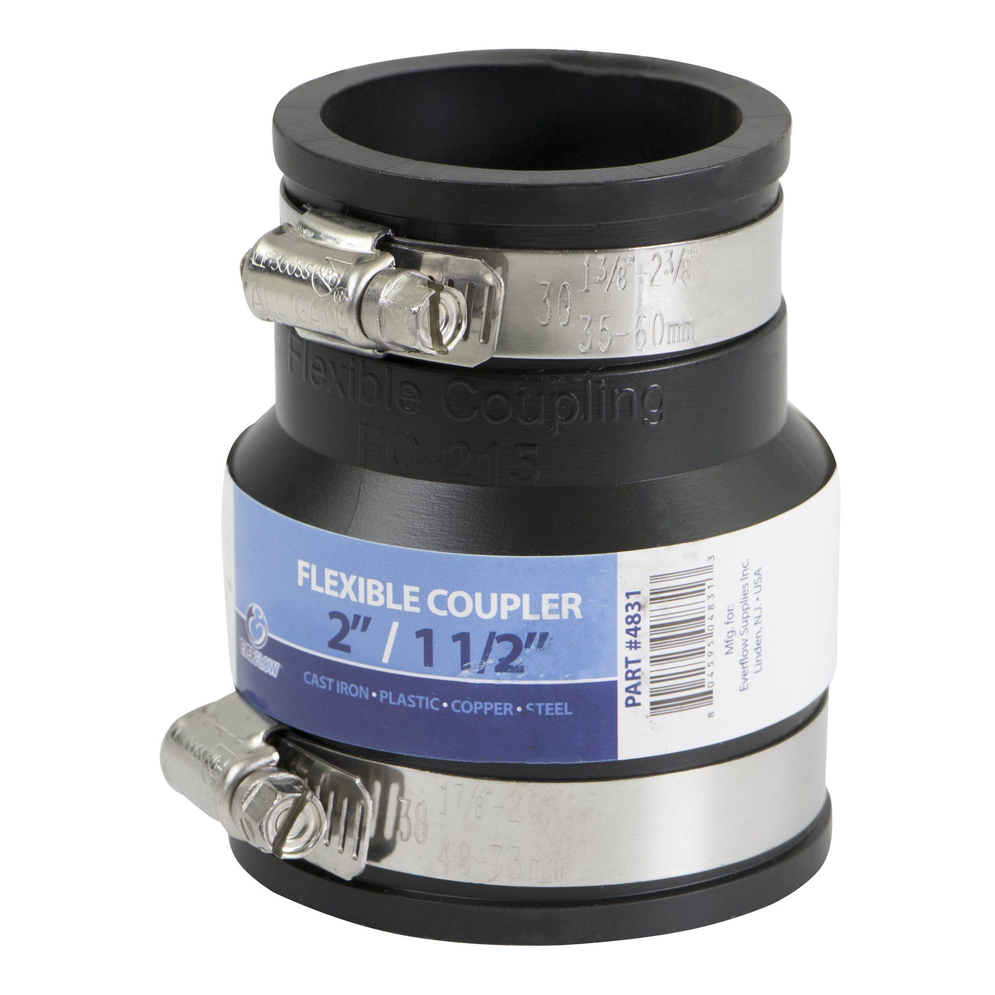 Everconnect 4831 Flexible Pvc Reducing Rubber Coupling With Stainless Steel Clamps 2 X 1 1 2 Inch Black Ad Pvc Aff Flexibility Stainless Stainless Steel