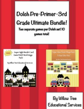 Dolch Pre Primer-3rd Grade games for classroom! This bundle includes 2 different games for each Dolch set! A total of 10 games for differentiated centers! Description of the games are below. Dolch Super Hero Sight Word Zap! To play the game, each student draws a card and reads the word on his card.