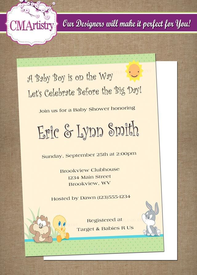 DIY PRINTABLE - Baby Looney Tunes Baby Shower Invitation $1200 - printable baby shower invite
