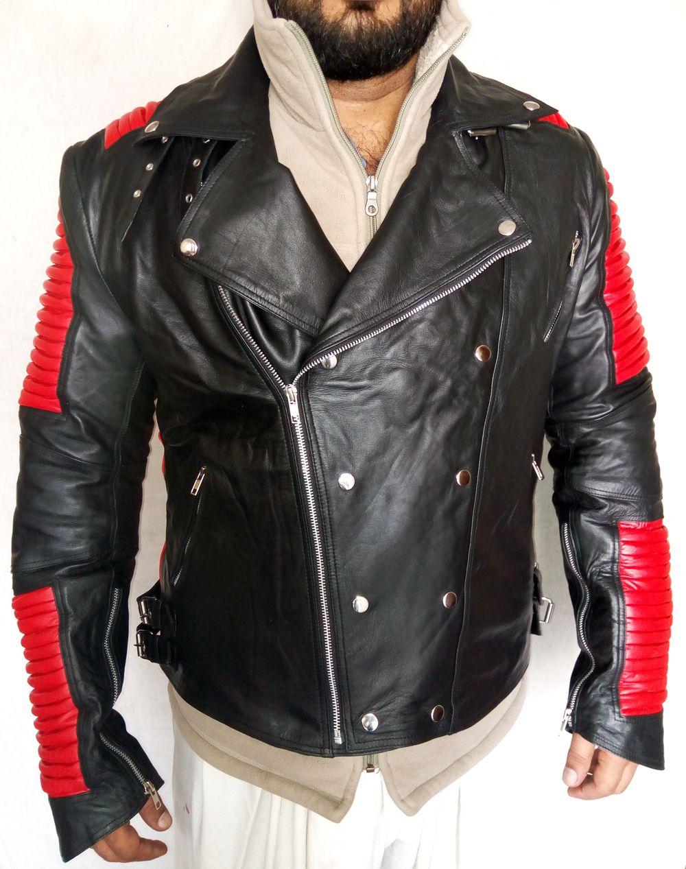 Men S Bailman Style Red Black Red Ribbed Fashion Leather Jacket Men S Leather Jacket Leather Coat Jacket [ 1267 x 1000 Pixel ]