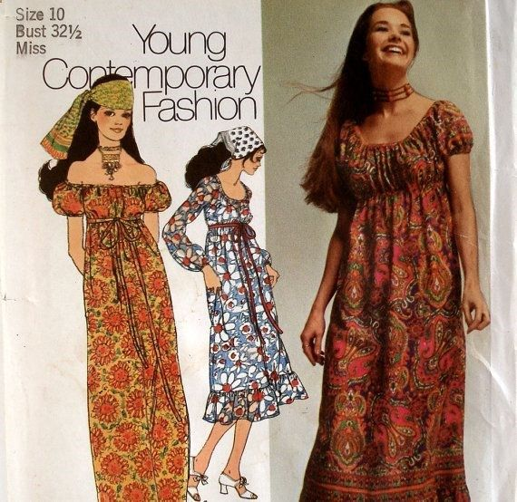 Vintage Boho Empire Waist Maxi Dress Pattern by