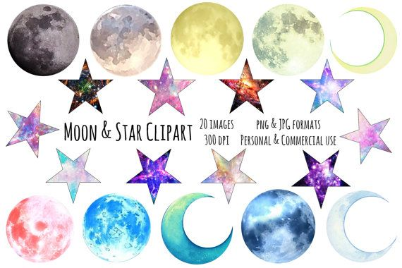 Galaxy star. Moon and stars clipart