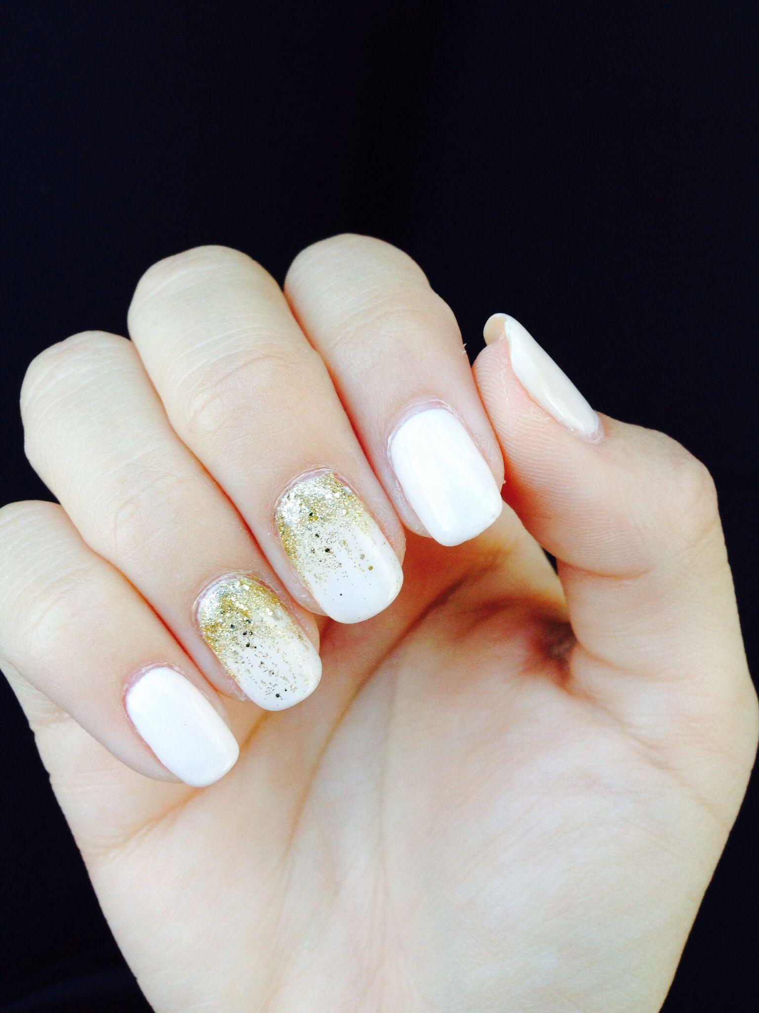 Gold And Ivory Nails Nail Designs Desighns Fingernail