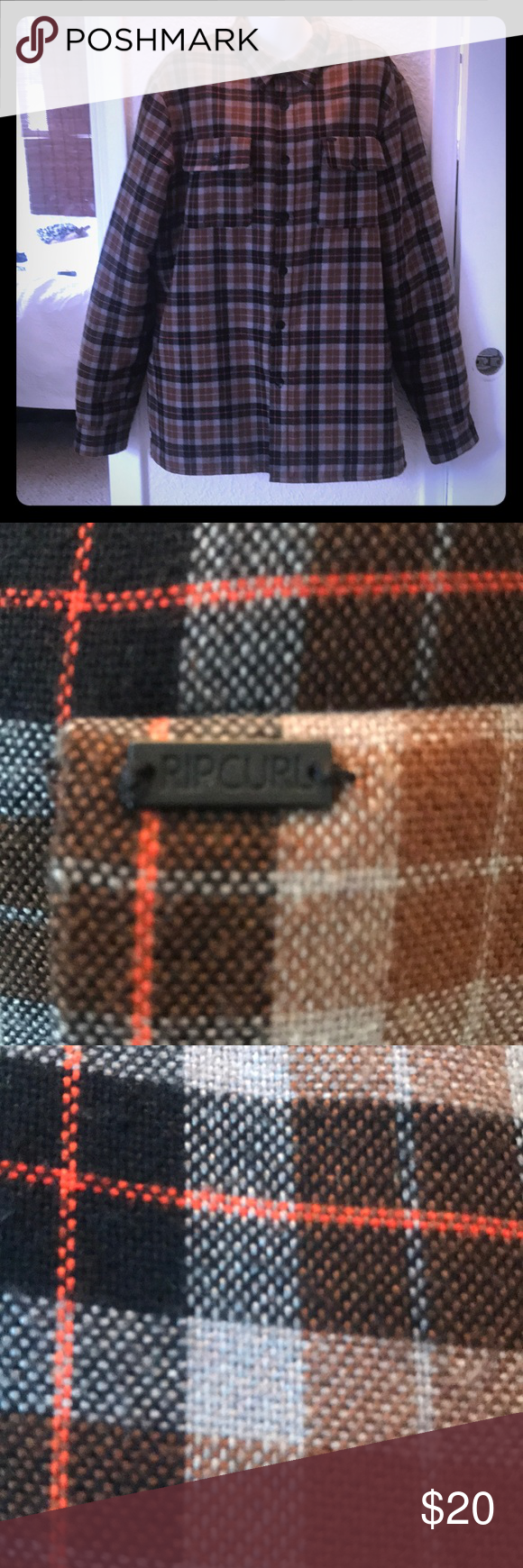 Quilted flannel shirt jacket  Guys Rip Curl Quilted Flannel  Rip curl Orange brown and Shirt jacket