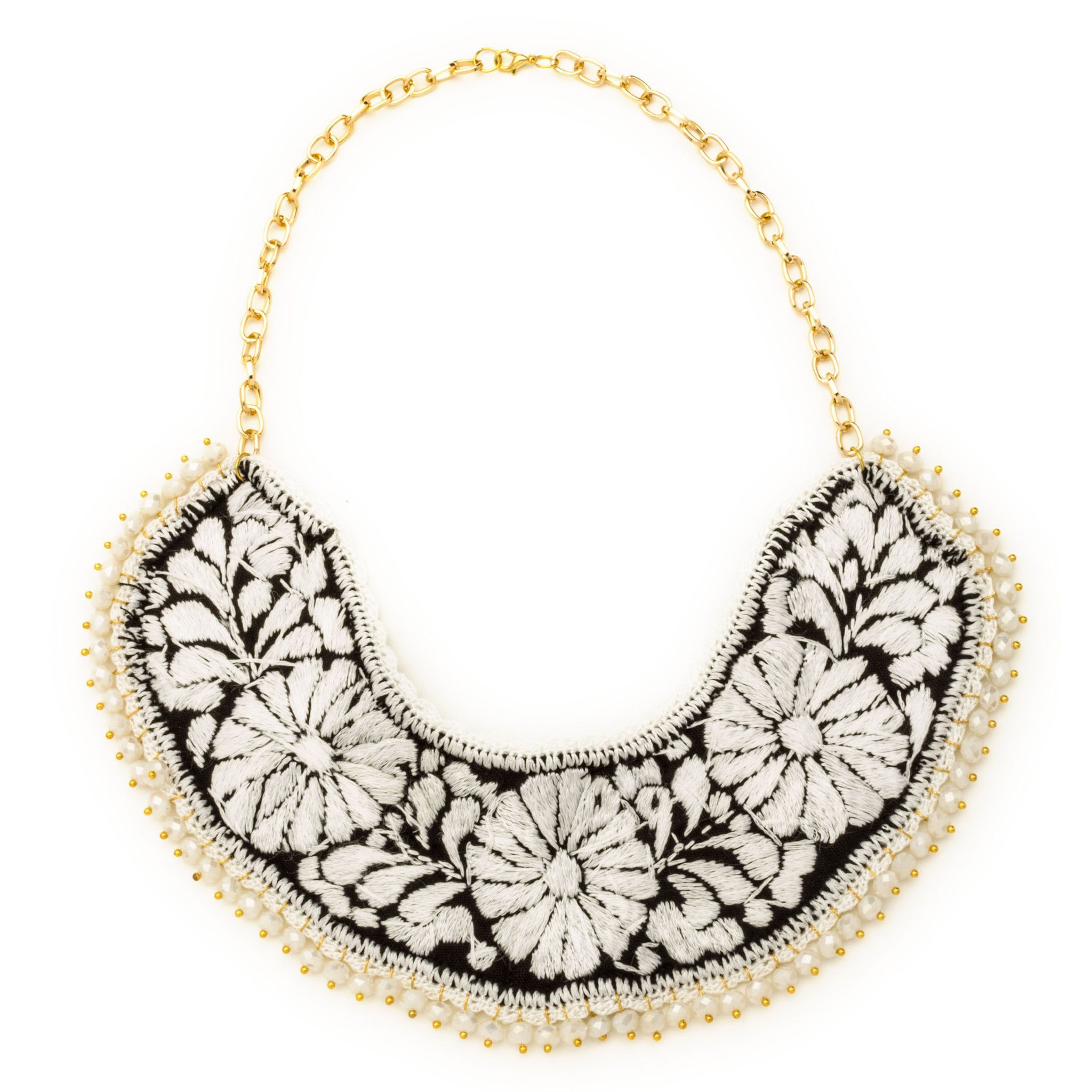Embroidered bib necklace with beads necklaces