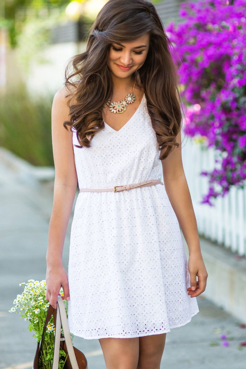 d3ad25416d9be Shaylee White Eyelet Sundress by Everly – Morning Lavender