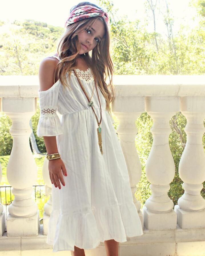a02a6aa7a Girls White Cold Shoulder Bohemian Flower Girls Dress