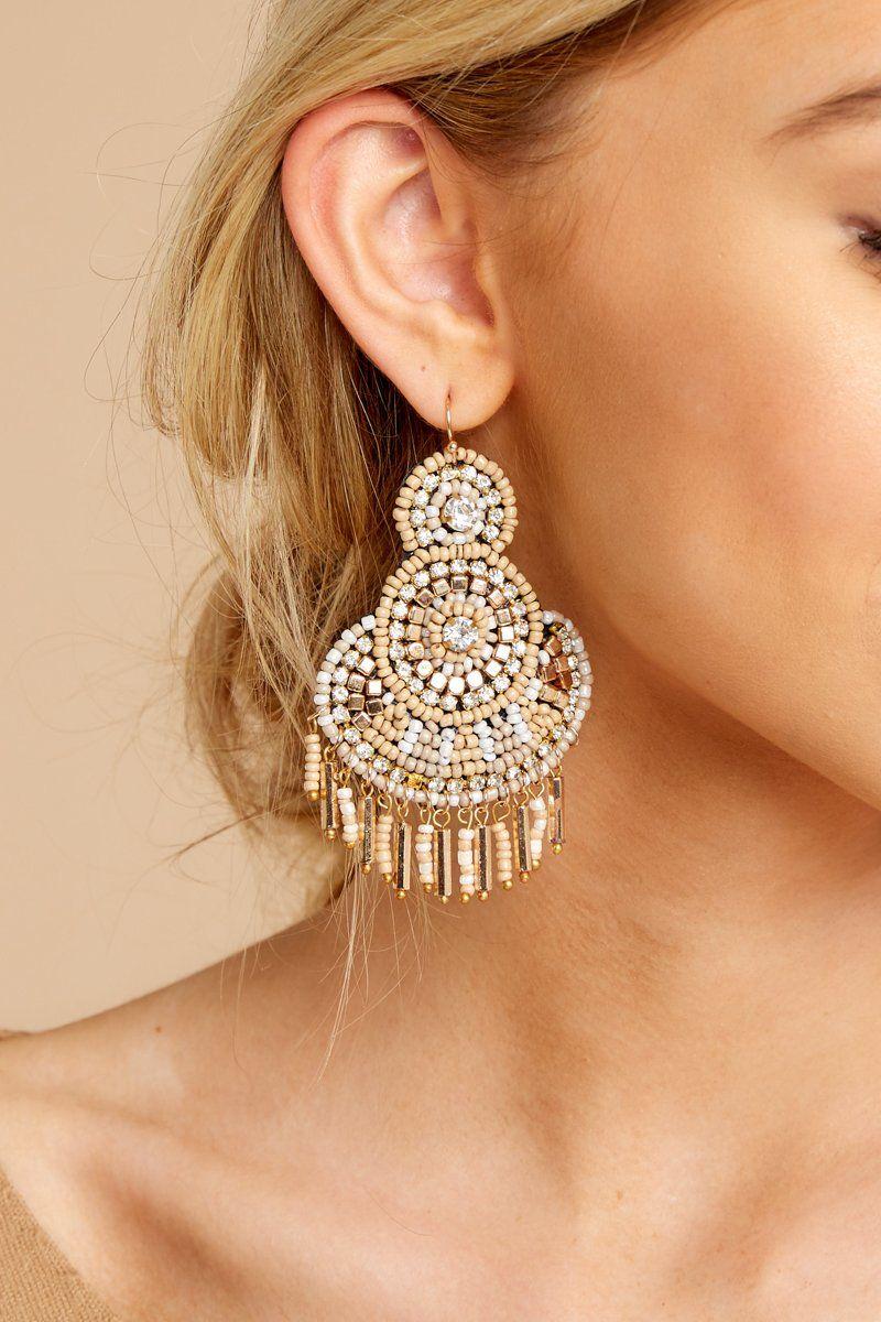 Stylish Tan Beaded Earrings Big Statement Earrings Jewelry 22 Red Dress Boutique Beaded Earrings Diy Big Statement Earrings Big Earrings
